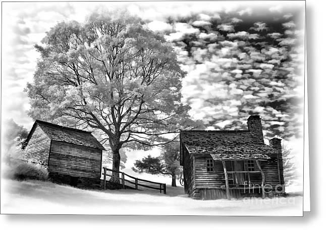 Cabin Under Buttermilk Skies vignette Greeting Card by Dan Carmichael