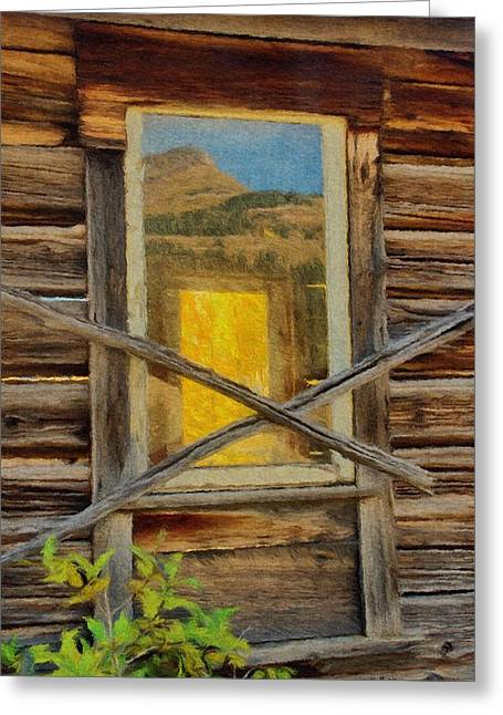 Cabin Greeting Cards - Cabin Windows Greeting Card by Jeff Kolker