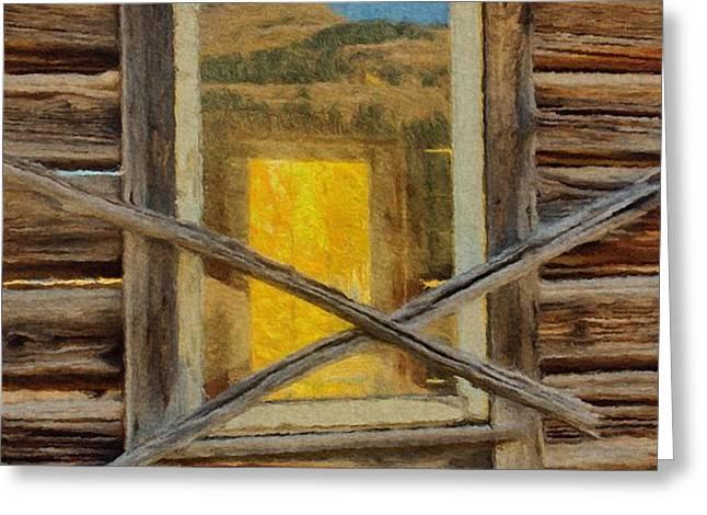 Cabin Windows Greeting Card by Jeff Kolker