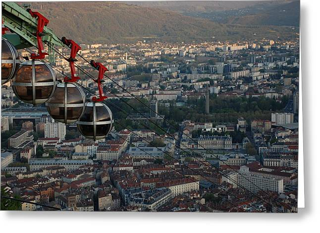Bastille Greeting Cards - Cable car in Grenoble  Greeting Card by Dany  Lison