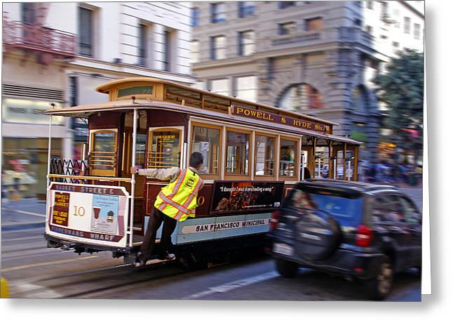 Cable Car Greeting Card by Rod Jones