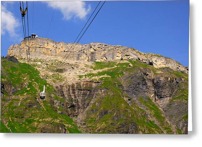 Murren Greeting Cards - Cable Car With Mount Schiltorn Greeting Card by Anne Keiser