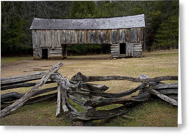 Split Rail Fence Greeting Cards - Cable Mill Barn in Cades Cove No.122 Greeting Card by Randall Nyhof