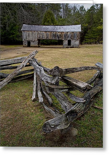 Split Rail Fence Greeting Cards - Cable Mill Barn in Cades Cove No.123 Greeting Card by Randall Nyhof