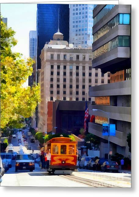 Downtown San Francisco Greeting Cards - Cablecar on San Francisco California Street  . 7D7176 Greeting Card by Wingsdomain Art and Photography