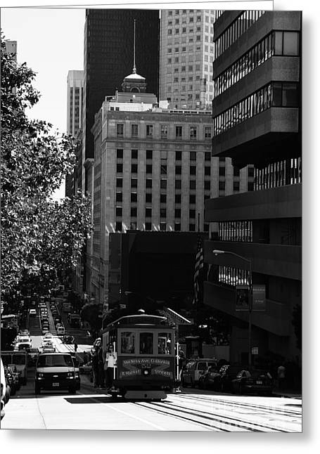 Downtown San Francisco Greeting Cards - Cablecar on San Francisco California Street . bw . 7D7176 Greeting Card by Wingsdomain Art and Photography