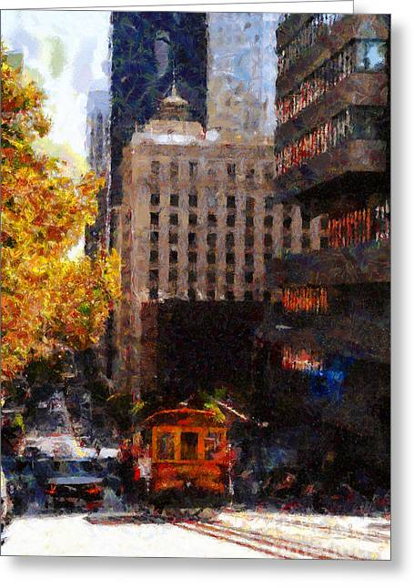 Highrise Digital Art Greeting Cards - Cablecar on San Francisco California Street  . Painterly . 7D7176 Greeting Card by Wingsdomain Art and Photography