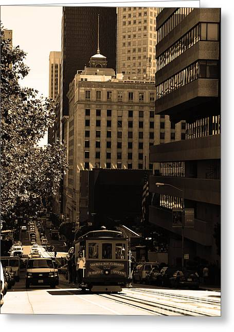 Downtown San Francisco Greeting Cards - Cablecar on San Francisco California Street . sepia . 7D7176 Greeting Card by Wingsdomain Art and Photography