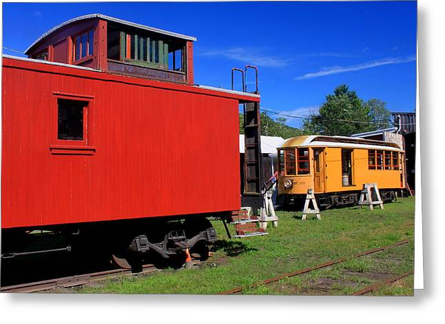 Shelburne Greeting Cards - Caboose at Shelburne Trolley Museum Greeting Card by John Burk