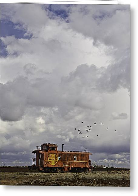 Rural Decay Prints Greeting Cards - Caboose in a Cotton Field Greeting Card by Melany Sarafis