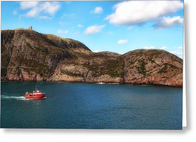 Towering Sea Cliffs Greeting Cards - Cabot Tower on Signal Hill Greeting Card by Steve Hurt