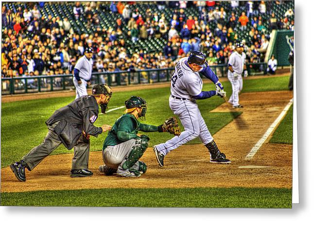 Cabrera Grand Slam Greeting Card by Nicholas  Grunas