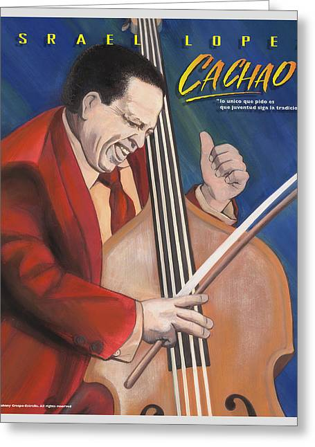 Puerto Rico Pastels Greeting Cards - Cachao  Greeting Card by John Crespo Estrella