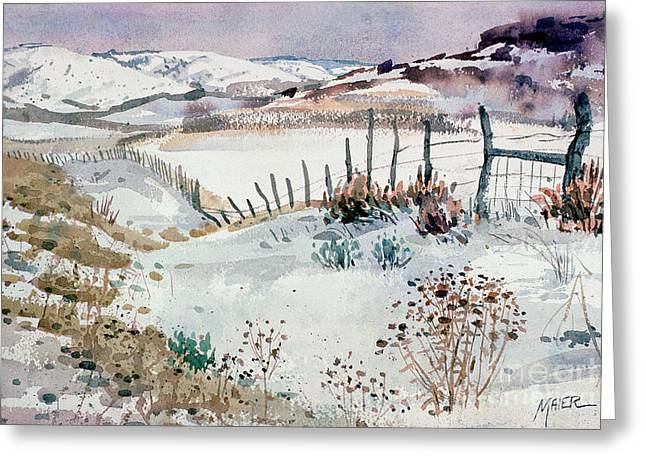 Snow Scene Landscape Greeting Cards - Cache Valley Meadows  Greeting Card by Donald Maier