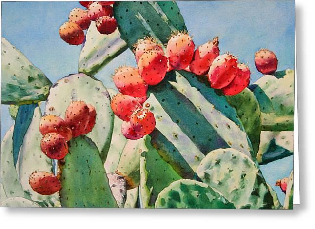 Cactus Greeting Cards - Cactus Apples Greeting Card by Kathleen Ballard