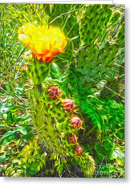 Gregory Dyer Greeting Cards - Cactus Flower - 02 Greeting Card by Gregory Dyer