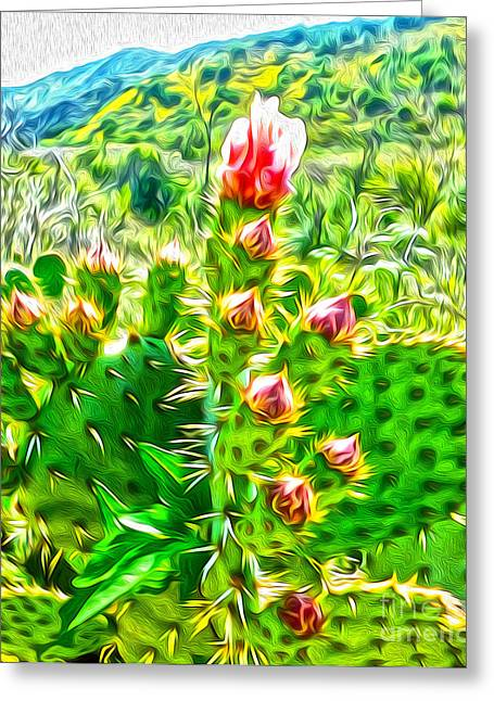 Gregory Dyer Mixed Media Greeting Cards - Cactus Flower Greeting Card by Gregory Dyer