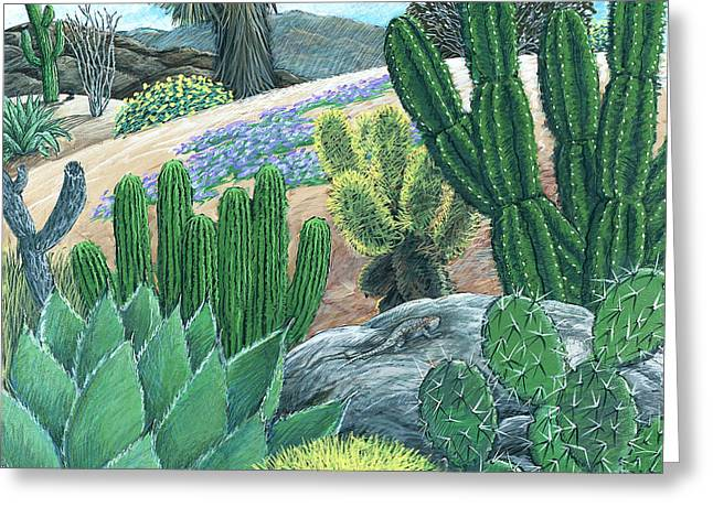 Sand Dunes Paintings Greeting Cards - Cactus Garden Greeting Card by Snake Jagger