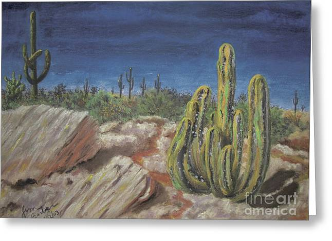 Surreal Landscape Pastels Greeting Cards - Cactus Greeting Card by Jim Barber Hove