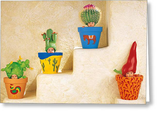 Downs Greeting Cards - Cactus Pots Greeting Card by Anne Geddes