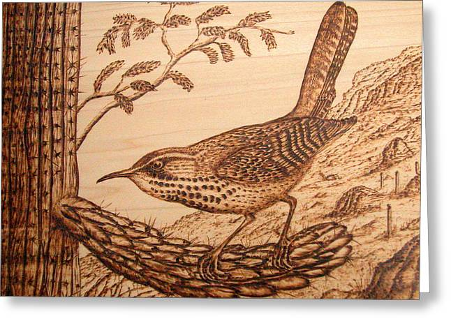 Ohio Pyrography Greeting Cards - Cactus Wren Greeting Card by Susan Rice