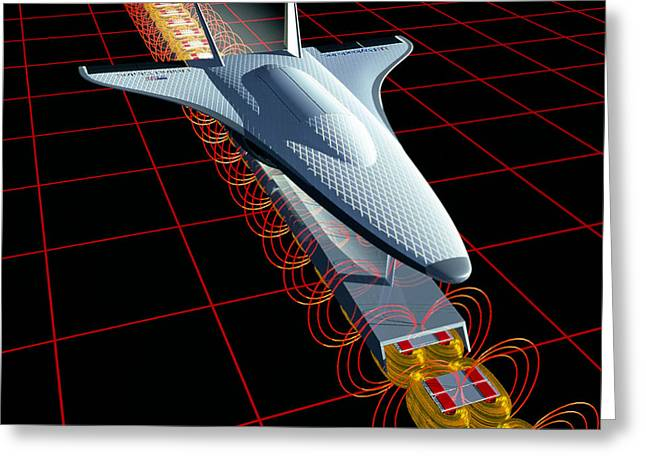 Levitation Photographs Greeting Cards - Cad Of Spacecraft Launched By Magnetic Levitation Greeting Card by Nasa