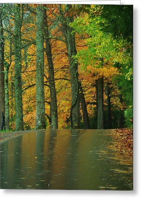 Mountain Road Greeting Cards - Cades Cove in Fall Greeting Card by Jeff Moose
