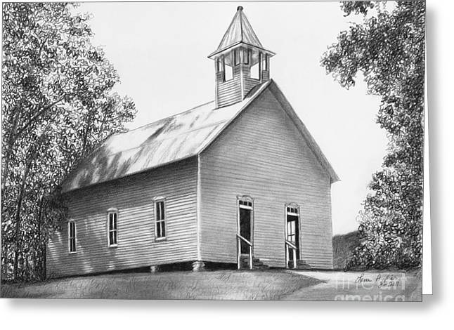 Tennessee Drawings Greeting Cards - Cades Cove Methodist Church Greeting Card by Lena Auxier