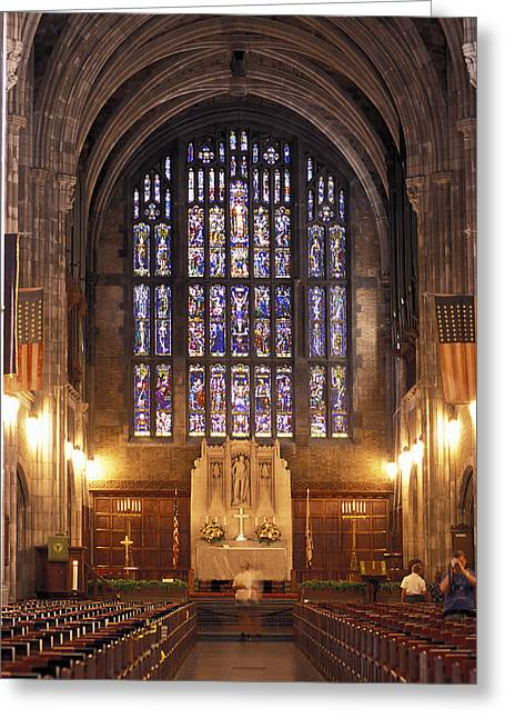 Cadet Greeting Cards - Cadet Chapel With Stained Glass Windows Greeting Card by Richard Nowitz