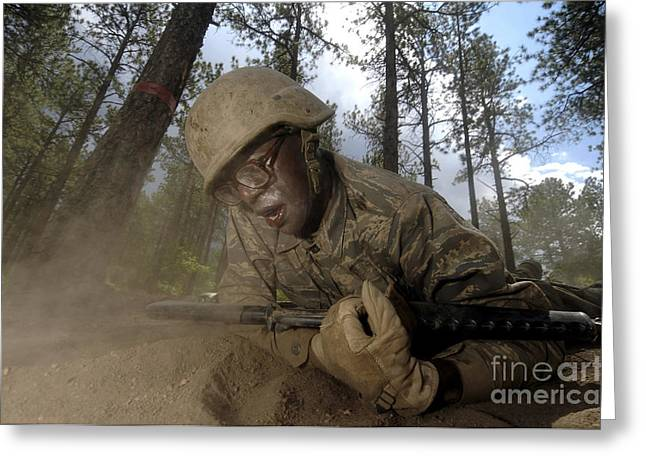 Cadet Greeting Cards - Cadet Crawls Down A Section Of An Greeting Card by Stocktrek Images
