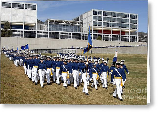 College Buildings Images Greeting Cards - Cadets March Onto The Stillman Parade Greeting Card by Stocktrek Images