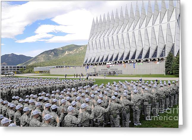 Image Repeat Greeting Cards - Cadets Recite The Oath Of Allegiance Greeting Card by Stocktrek Images