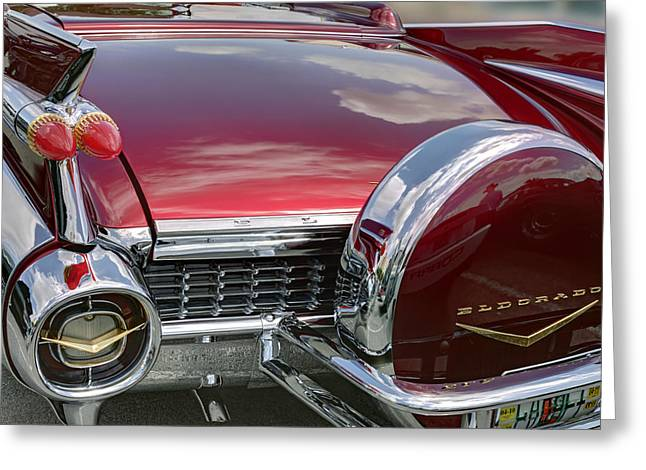 Burgundy Greeting Cards - Cadillac El Dorado 1958 boot and spare wheel. Miami Greeting Card by Juan Carlos Ferro Duque