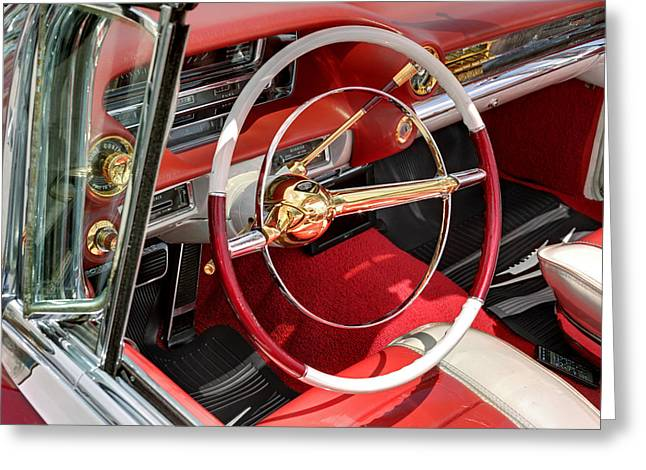 Burgundy Greeting Cards - Cadillac El Dorado 1958 dashboard and steering whee. Miami Greeting Card by Juan Carlos Ferro Duque