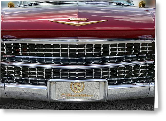 Burgundy Greeting Cards - Cadillac El Dorado 1958 front view. Miami Greeting Card by Juan Carlos Ferro Duque