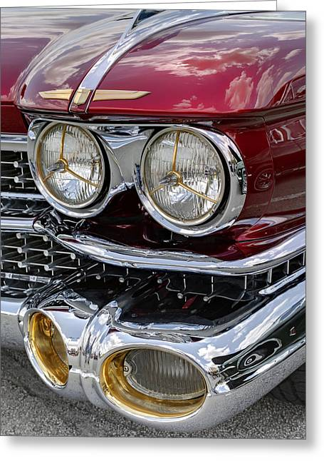 Burgundy Greeting Cards - Cadillac El Dorado 1958 headlights. Miami Greeting Card by Juan Carlos Ferro Duque