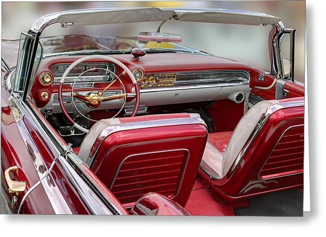 Burgundy Greeting Cards - Cadillac El Dorado 1958 rear view. Miami Greeting Card by Juan Carlos Ferro Duque
