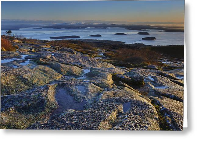 Storm Wave Greeting Cards - Cadillac Mountain and Frenchmans Bay Greeting Card by Rick Berk