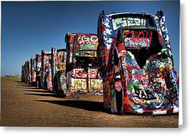 Amarillo Greeting Cards - Cadillac Ranch Greeting Card by Lana Trussell