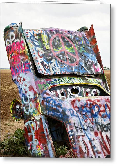 Spray Paint Art Greeting Cards - Cadillac Ranch Greeting Card by Marilyn Hunt