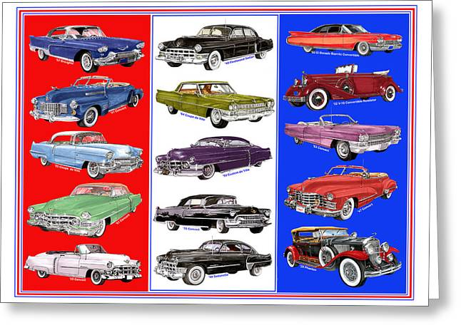 Caddy Paintings Greeting Cards - Cadillac times fifteen Greeting Card by Jack Pumphrey