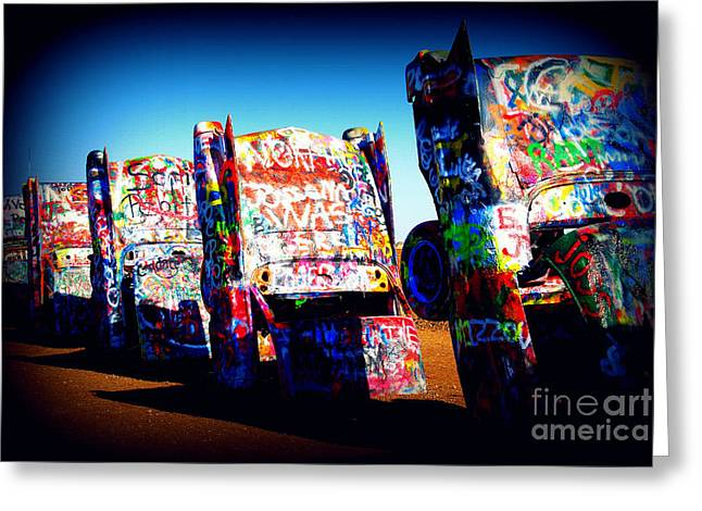 Cadillacs On Route66 Greeting Card by Susanne Van Hulst