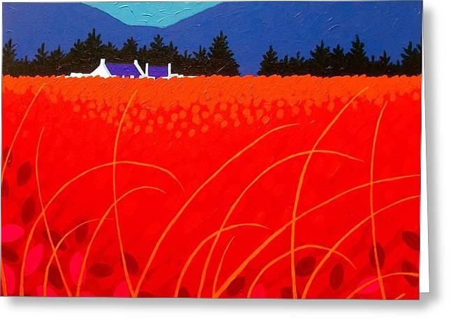 Field Framed Prints Greeting Cards - Cadmium Landscape Greeting Card by John  Nolan
