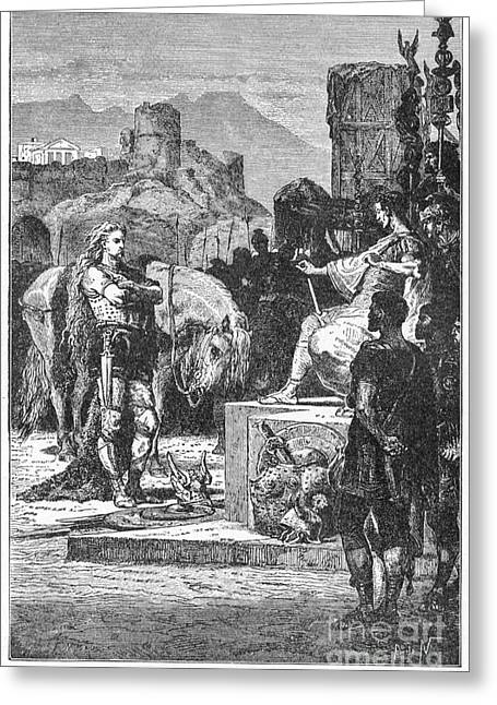 Gallic Greeting Cards - Caesar And Vercingetorix Greeting Card by Granger