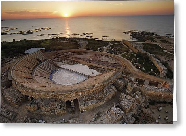 Remains Of Images Greeting Cards - Caesareas Amphitheater Hugs Greeting Card by Michael Melford