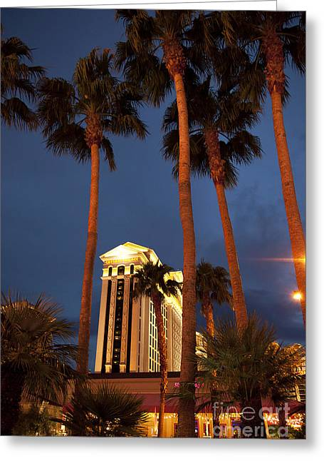 Evening Lights Greeting Cards - Caesars Palace 6 Greeting Card by Jane Rix