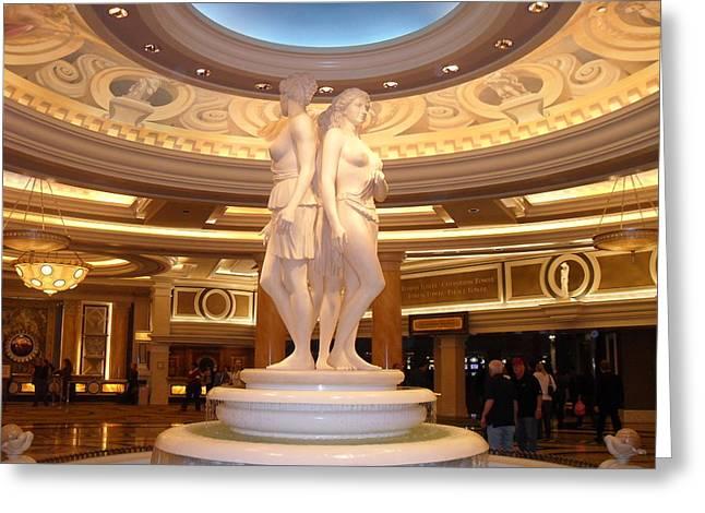 Caesar's Palace Greeting Card by Megan Davis