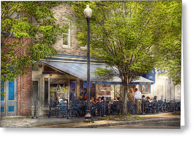 Summer Awnings Greeting Cards - Cafe - Albany NY - Victory Cafe Greeting Card by Mike Savad
