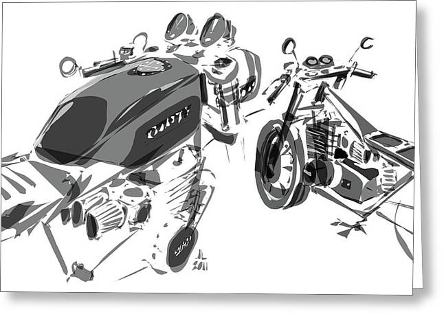 Wire Wheels Greeting Cards - Cafe - Variation Greeting Card by Jeremy Lacy