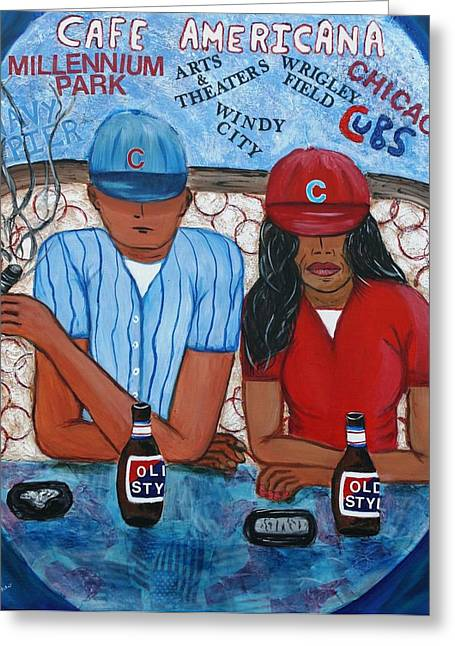 Windy City Mixed Media Greeting Cards - Cafe Americana - Chicago  Greeting Card by Victoria  Johns